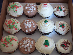 A selection of cupcakes for christmas