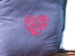 close up of embroidered cushion